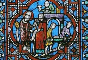saint-aldric détail d'un vitrail de la cathédrale Saint-Julien
